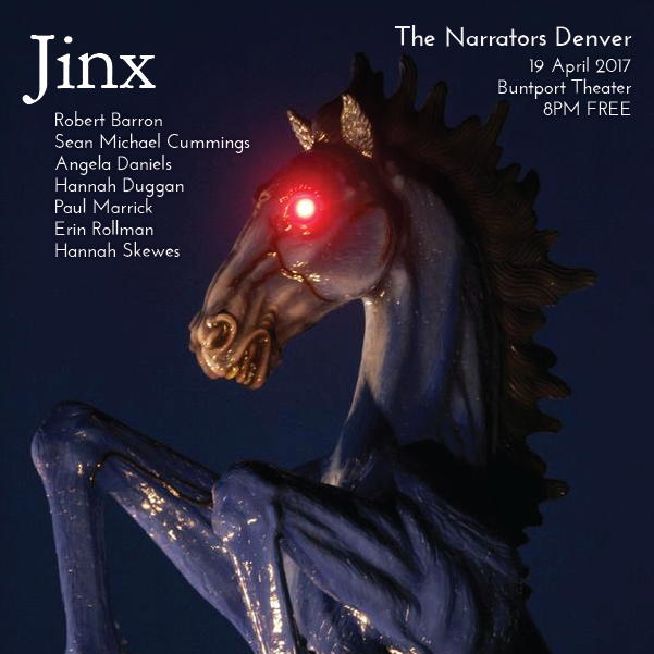 The Narrators Denver - April 2017 poster featuring Blucifer the Blue Horse at DIA