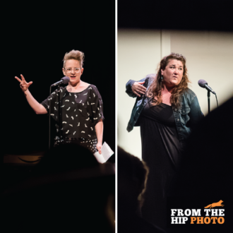 Erin Rollman and Hannah Duggan at The Narrators in April 2017